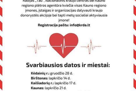 """Kraujo donorystės akcija """"KAUNO REGIONAS GALI"""""""