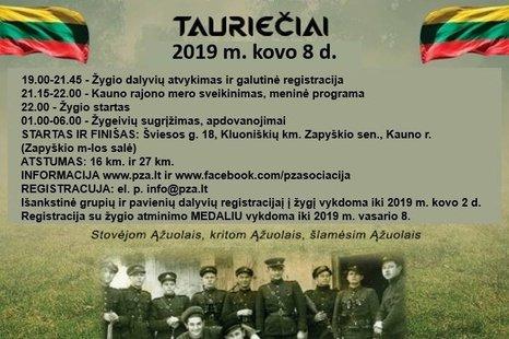 """Naktinis pėsčiųjų žygis partizanų takais """"Tauriečiai"""""""