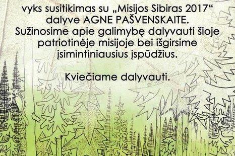 """Susitikimas su """"Misija Sibiras 2017 """" dalyve Agne Pašvenskaite"""