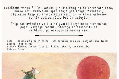 Kūrybinės dirbtuvės vaikams su knygų iliustratore Lina Dūdaite
