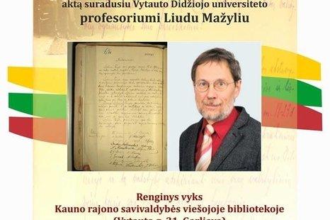 Susitikimas su profesoriumi Liudu Mažyliu